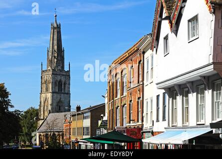 View of the shops and buildings along Westgate Street in the town centre, Gloucester, Gloucestershire, England, - Stock Photo