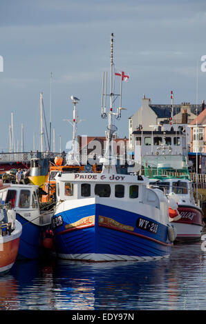 Small, colourful fishing boats or vessels, are moored side by side in the water of sunny, scenic Whitby harbour - Stock Photo