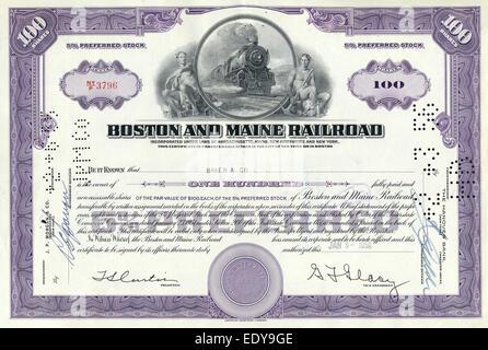 Historic share certificate, Boston and Maine Railroad, USA, 1956 - Stock Photo