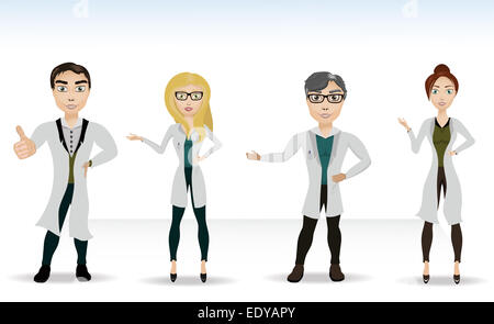 Vector illustration of four doctors in the news growth - Stock Photo