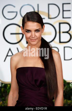 Beverly Hills, California, USA. 11th Jan, 2015. US actress Katie Holmes arrives for the 72nd Annual Golden Globe - Stock Photo