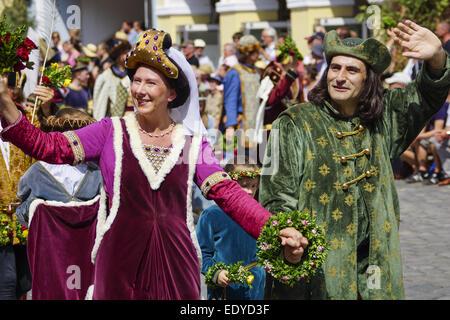 Mittelalterliche Spiele während der Landshuter Hochzeit in Landshut, Niederbayern, Bayern, Deutschland, Europa, - Stock Photo