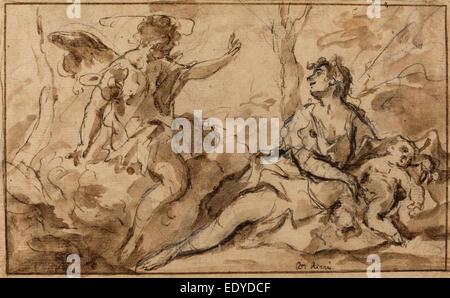 Sebastiano Ricci (Italian, 1659 - 1734), The Angel Appearing to Hagar and Ishmael, 1726-1727, pen and brown ink - Stock Photo