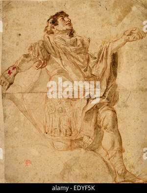 Cosmas Damian Asam (German, 1686 - 1739), Saint George Kneeling, 1720-1721, red chalk with gray-brown wash with - Stock Photo