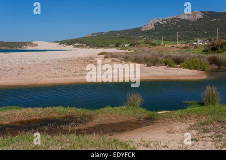 Bolonia beach and Sierra de la Plata, Tarifa, Cadiz province, Region of Andalusia, Spain, Europe - Stock Photo