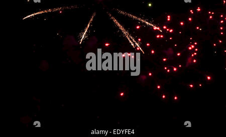 Buntes Feuerwerk am Nachthimmel, Colorful fireworks in the night sky, Fireworks, Pyrotechnics, firecrackers, Colorful, - Stock Photo