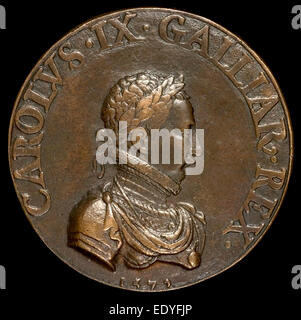 Pierre II Woeiriot de Bouzey, Charles IX, 1550-1574, King of France 1560 [obverse], French, 1532 - 1599, 1572, bronze - Stock Photo