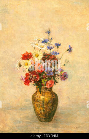 Odilon Redon, Flowers in a Vase, French, 1840 - 1916, c. 1910, oil on canvas - Stock Photo