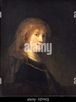 Rembrandt van Rijn (Dutch, 1606 - 1669), Saskia van Uylenburgh, the Wife of the Artist, probably begun 1634-1635 - Stock Photo