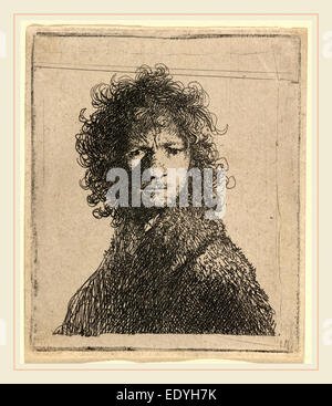 Rembrandt van Rijn, Self-Portrait, Frowning, Dutch, 1606-1669, 1630, etching - Stock Photo