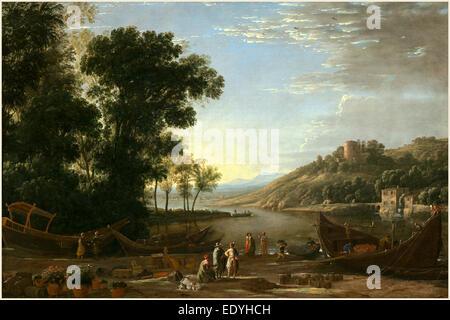 Claude Lorrain, French (1604-1605-1682), Landscape with Merchants, c. 1629, oil on canvas - Stock Photo
