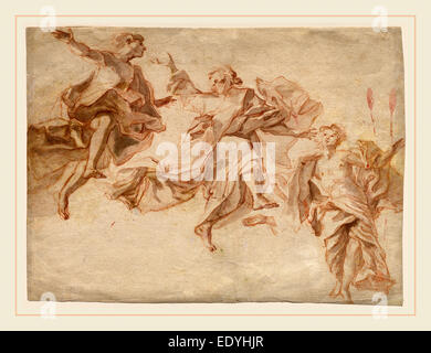 Cosmas Damian Asam, German (1686-1739), The Ascension of Christ, 1720, red chalk with gray wash on laid paper - Stock Photo