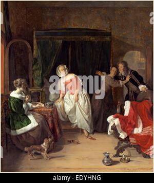 Gabriel Metsu, Dutch (1629-1667), The Intruder, c. 1660, oil on panel - Stock Photo
