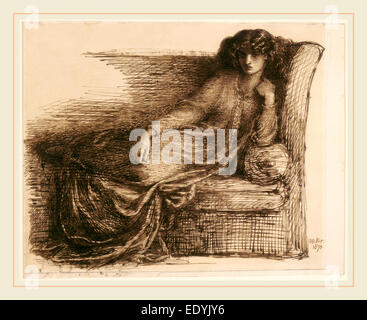 Dante Gabriel Rossetti, Jane Morris, British, 1828-1882, 1870, pen and iron gall ink with brown wash on laid paper - Stock Photo