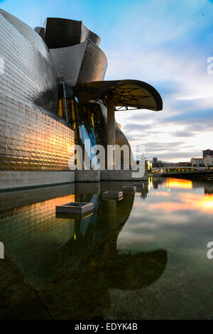 Guggenheim Museum Bilbao, by Frank Gehry, Bilbao, Basque Country, Biscay Province, Spain - Stock Photo
