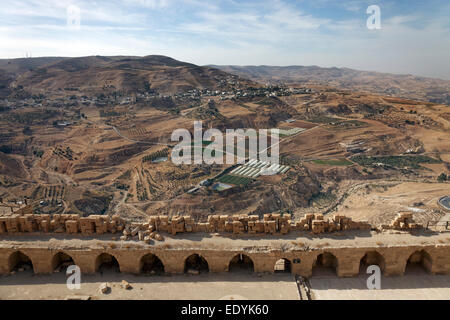 View from the ruins of Kerak Castle, a crusader castle, built in 1140, at that time Crac des Moabites, Al Karak - Stock Photo