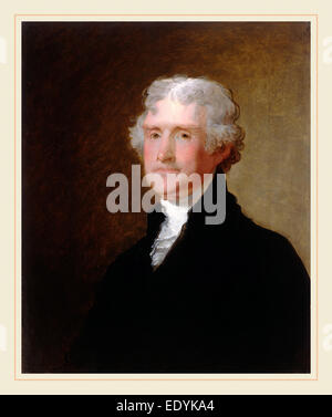 Gilbert Stuart, Thomas Jefferson, American, 1755-1828, c. 1821, oil on wood - Stock Photo