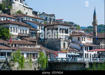 Traditional houses in the Mangalem quarter, UNESCO World Heritage Site, Berat, Albania - Stock Photo