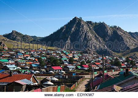 View of Tsetserleg, Arkhangai Province, Mongolia - Stock Photo