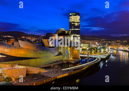 Guggenheim Museum Bilbao, by Frank Gehry, Nervion River, Bilbao, Basque Country, Biscay Province, Spain - Stock Photo