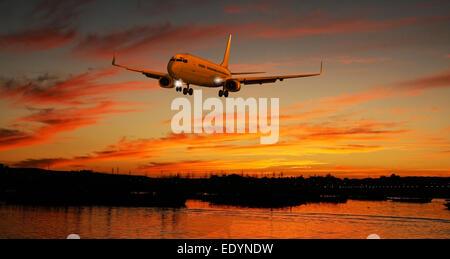 Passenger plane landing at sunset, illustration - Stock Photo