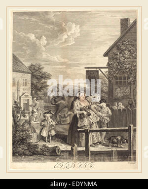 William Hogarth,English, (1697-1764), Evening, 1738, etching and engraving - Stock Photo