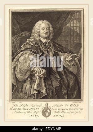 Bernard Baron after William Hogarth, French (1696-1762), Bishop Hoadly, 1743, engraving - Stock Photo