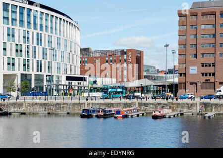 Liverpool's new architecture shown from Canning Dock - Stock Photo