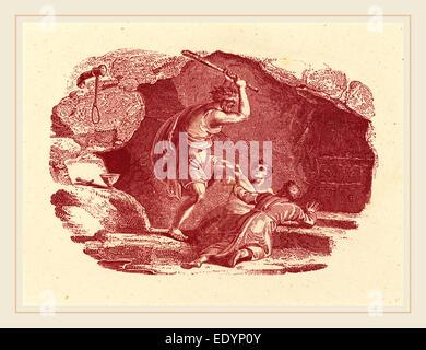 Thomas Bewick, British (1753-1828), Murder Scene, engraving in red on wove paper - Stock Photo