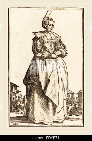 after Jacques Callot, Noble Woman with a Small Hat, woodcut - Stock Photo