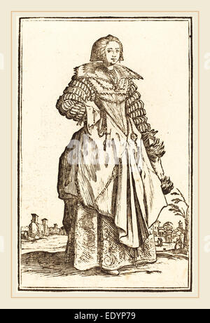 after Jacques Callot, Noble Woman with Large Collar, woodcut - Stock Photo