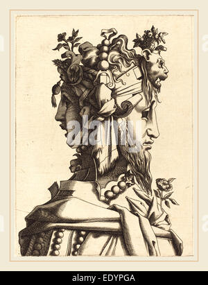 French 16th Century after René Boyvin or Pierre Milan, Bust of a Woman in an Extravagant Costume, 1560-1600, engraving - Stock Photo