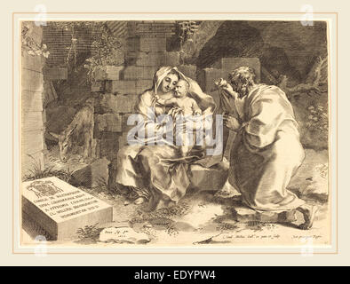 Claude Mellan, French (1598-1688), The Holy Family, engraving - Stock Photo