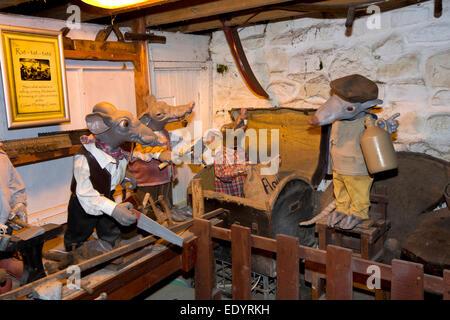 UK, Wales, Swansea, Parkmill, Gower Heritage Centre, rat-tat-tats character workshop display - Stock Photo