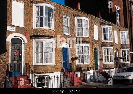 Terrace of Georgian houses in Addington Square, Margate. - Stock Photo