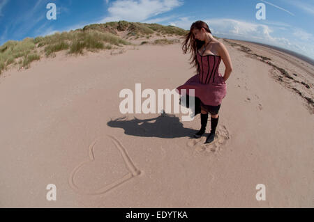 heart on the beach. credit: LEE RAMSDEN / ALAMY - Stock Photo