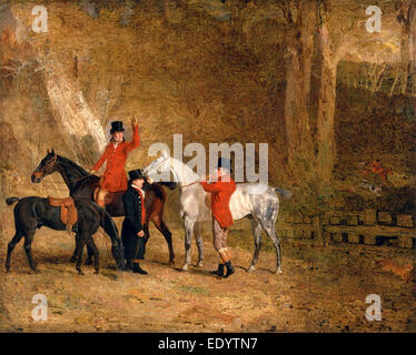 Foxhunting Scene Fox Hunting: Two Gentlemen with a Groom The Englington Brothers Signed and dated - Stock Photo