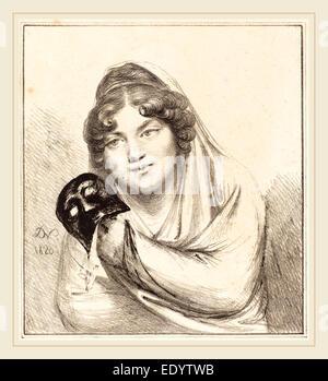 Baron Dominique Vivant Denon, French (1747-1825), Girl with a Mask, 1820, lithograph