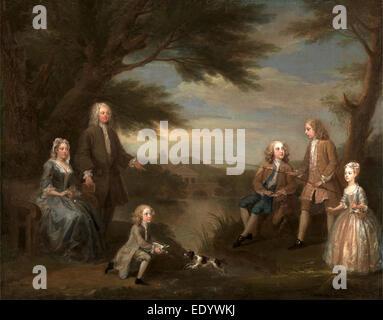 John and Elizabeth Jeffreys and Their Children, William Hogarth, 1697-1764, British - Stock Photo