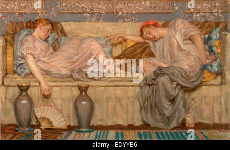 Beads (study) Two Women on a Sofa, 1875, Albert Joseph Moore, 1841-1893, British - Stock Photo