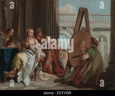 Alexander the Great and Campaspe in the Studio of Apelles; Giovanni Battista Tiepolo, Italian, 1696 - 1770; Italy, - Stock Photo