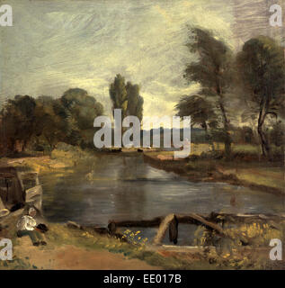 Flatford Lock, John Constable, 1776-1837, British - Stock Photo