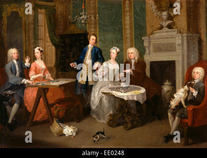 Portrait of a Family A Family Party, William Hogarth, 1697-1764, British - Stock Photo
