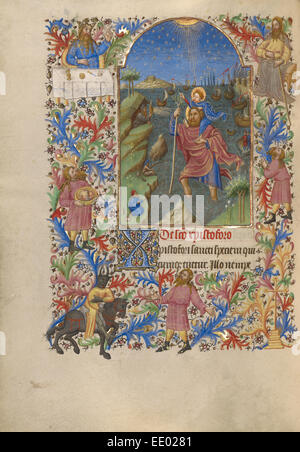 Saint Christopher Carrying the Christ Child; Spitz Master, French, active about 1415 - 1425; Paris, France, Europe; - Stock Photo