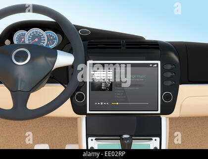 Music player interface for car multimedia console. - Stock Photo