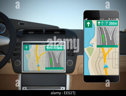 Car navigation system synchronized with smart phone. Concept for Internet of things. - Stock Photo
