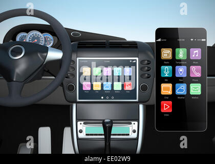 Smart car's console synchronize with smart phone. Concept for intelligent navigation system. - Stock Photo