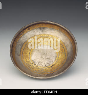Bowl with Tendril Frieze; Unknown; Eastern Hellenistic Empire; 1st century B.C.; Silver with gilding - Stock Photo
