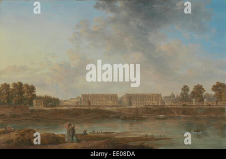 A View of Place Louis XV; Attributed to Alexandre-Jean Noël, French, 1752 - 1834; about 1775 - 1787; Oil on canvas - Stock Photo