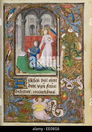 Charles the Bold Presented by an Angel; Lieven van Lathem, Flemish, about 1430 - 1493, active 1454 - 1493; Ghent - Stock Photo